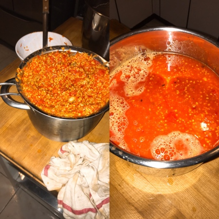 Cooking and Straining Hot Sauce